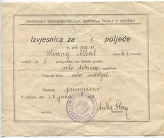 JEWISH MUNICIPALITY OSIJEK CROATIA, ISRAELIANA JUDAICA, OLD HISTORICAL DOCUMENTS, 3 PCS ! - Documents Historiques