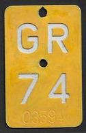 Velonummer Mofanummer Graubünden GR 74 - Plaques D'immatriculation