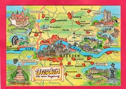 Modern Multi View Post Card Of Map,Dresden, Germany,A21 - Dresden