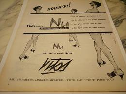 ANCIENNE PUBLICITE NU CREATION  DE  VITOS  1956 - Vintage Clothes & Linen