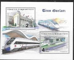 TURKEY, 2019, MNH,TRAINS, RAILWAY STATIONS, S/SHEET - Trains