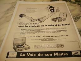 ANCIENNE PUBLICITE PORTATIF LE 555 CI PATHE MARCONI 1956 - Music & Instruments
