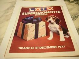 ANCIENNE PUBLICITE SUPERCAGNOTTE LOTO 1977 - Unclassified