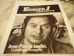 ANCIENNE PUBLICITE JEAN PIERRE JOULIN ET RADIO EUROPE 1  1977 - Advertising