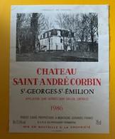 10587 - Château Saint André Corbin  1986 St Georges Saint-Emilion - Bordeaux