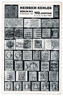 102. Köhler Briefmarken Auktion 1938 Bidtafeln - Catalogi Van Veilinghuizen