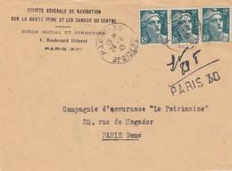 LETTRE DEVANT. RECOMMANDÉ PROVISOIRE PARIS 30. 24 8 45. SOCIETE GENERALE DE NAVIGATION SUR LA HAUTE SEINE ET CANAUX - Liberation