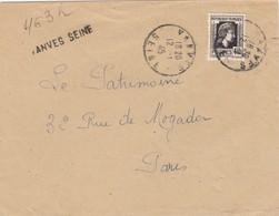 LETTRE . RECOMMANDÉ PROVISOIRE . 12 1 45.  VANVES SEINE POUR PARIS. MARIANNE ALGER 4,50 N° 644 SEUL SUR LETTRE - Liberation