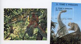 Sao Tome-1993-Brachiosaurus, Et Oiseaux-MI B305/6***MNH - Sao Tome Et Principe