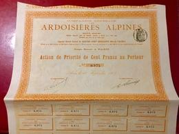 Cie Générale Des  ARDOISIÈRES  ALPINES  -------Action  De  Priorité  De  100 Frs - Mines