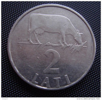 1992 LATVIA 1992 Year 2 Lats / Lat COW COIN LION & DRAG RARE First 2 Lati Coins - Lettonie