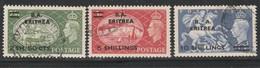"""Eritrea, Francobolli Di Gran Bretagna Del 1951 Con Soprastampa """" B.A. Eritrea """" Usati Cat  Sassone N 31/32/33 - Eritrea"""