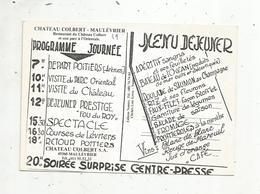 Original Menu Sur Carte Postale,restaurant Du Chateau COLBERT ,  49,  MAULEVRIER , 2 Scans - Menu