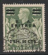 """Eritrea, Francobollo Di Gran Bretagna Del 1937/42 Con Soprastampa """" B.A. Eritrea """" Usato Cat  Sassone N 24 - Eritrea"""