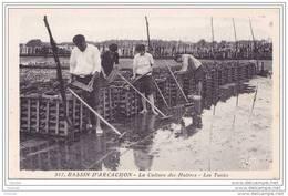 33) BASSIN D ARCACHON - LA CULTURE DES  HUITRES  LES TUILES  - (BELLE ANIMATION) - Arcachon