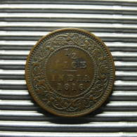 British India 1/2 Pice 1916 - Inde