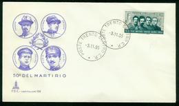 FD Italy FDC 1966 MiNr 1218   Death Annivs Of World War 1 Heroes Filzi, Battisti, Chiesa And Sauro - 6. 1946-.. Repubblica