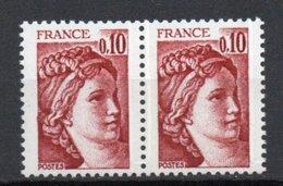 - FRANCE Variété N° 1965 ** - 10 C. Rouge-brun Type Sabine - 1 BANDE DE PHOSPHORE TENANT A 2 BANDES DE PHOSPHORE - - Errors & Oddities