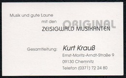 C6529 - Kurt Krauß - Zeißigwald Musikanten - Chemnitz - Visitenkarte - Visitenkarten