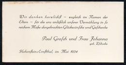 C6530 - Paul Grosch Johanna Geb Zschocke Hohenstein Ernstthal - Glückwunschkarte Visitenkarte - Visitenkarten