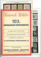 103. Köhler Briefmarken Auktion 1939 - Sehr Seltener Auktionskatalog Mit Den Bildtafeln - Catalogues For Auction Houses