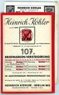 107. Köhler Briefmarken Auktion 1940 - Sehr Seltener Auktionskatalog Mit Den Bildtafeln - Catalogi Van Veilinghuizen