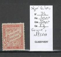 France- Taxe 30 Centimes ROUGE ORANGE - SIGNE CALVES  -- Yvert 34 - Gomme Altérée - - Taxes