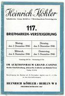 117. Köhler Briefmarken Auktion 1946 - Seltener Auktionskatalog Textteil - Catalogues For Auction Houses