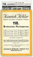 118. Köhler Briefmarken Auktion 1946 - Seltener Auktionskatalog Mit Den Bildtafeln - Catalogues For Auction Houses