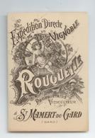 ANCIENNE SUPERBE PUBLICITE 1898 TARIFS VINS VIGNOBLE ROUQUETTE VITICULTEUR ST MAMERT DU GARD TBE - Publicités