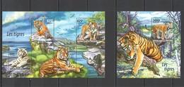 ST2032 2015 NIGER FAUNA ANIMALS WILD CATS TIGERS LES TIGRES 1KB+1BL MNH - Big Cats (cats Of Prey)