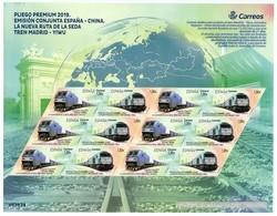 ESPAÑA / SPAIN / ESPAGNE (2019) - Joint Issue CHINA - Nueva Ruta De La Seda Tren Madrid - Yiwu / Train - Premium Sheet - 1931-Hoy: 2ª República - ... Juan Carlos I