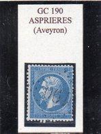 Aveyron - N° 22 Obl GC 190 Asprières - 1862 Napoléon III.