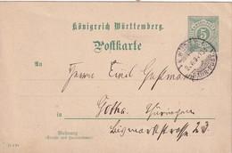 WWÜRTEEMBERG 1894      ENTIER POSTAL/GANZSACHE/POSTAL STATIONERY   CARTE AVEC CACHET K. WÜRT. BAHNPOST - Wuerttemberg