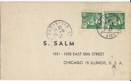 CARTE POSTALE 1947 POUR LES USA AVEC 2 TIMBRES A 3 FR AU TYPE MARIANNE DE GANDON - Storia Postale