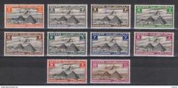 EGITTO:  1933/38  P.A. DEFINITIVA  -  INSIEME  10  VAL. L. -  YV/TELL. 5//14 - Posta Aerea