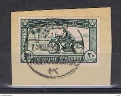 EGITTO:  1926/29  EX. MOTOCICLISTA  SU  FRAMMENTO  -  20 M. VERDE-GRIGIO  -  YV/TELL. 1 - Egitto