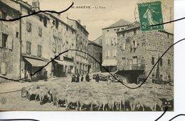 CPA . D26. SAINT AGREVE . La Place.  Troupeau De Moutons. L. BARD . MB Le Puy - France