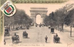 75 PARIS L'ARC DE TRIOMPHE ET LES CHAMPS ELYSEES CIRCULEE 1906 - Arc De Triomphe