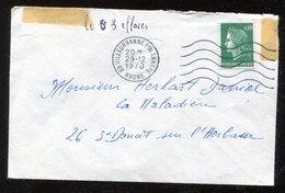 Variété Lettre  Ob  Marianne De Cheffer  0.30f  Vert - Sommet Du 3 éffacé - Variedades Y Curiosidades