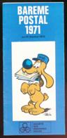 Bareme Postal 1971 : Lettres, Paquets, Divers, Indicatifs Départementaux, 11 Volets (9,5 Cm Sur 21 Cm), Edité Par Havas - Non Classés