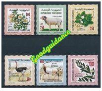 2003- Tunisie- Fauna And Flora: Wild Dog Rose, Jasmine, Ram, Ostrich, Antelope Oryx, Myrtle- Complete Set 3v.MNH** - Végétaux