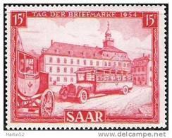 """Saar 1954: """"Tag Der Briefmarke"""" (Post-Autobus & Postkutsche) Michel-No. 349 ** MNH (Michel 2014 = 12.00 Euro) - Bussen"""