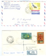 2x 1980's Turks & Caicos Island Covers To USA, Kew And Bottle Creek Pmks. - Turks & Caicos
