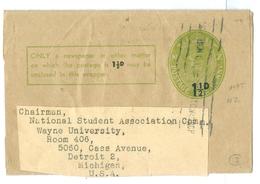 King George VI, NZ Postal Stationary 1/2d Overprinted On 1d. Used To England. - Postal Stationery