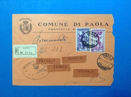 COMUNI D'ITALIA BUSTA RACCOMANDATA DEL 1955 COMUNE DI PAOLA CON ITALIA AL LAVORO 30 E 50 LIRE - 6. 1946-.. Republic