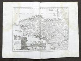 Antica Carta Geografica Del Governo Della Bretagna - Albrizzi 1730 Ca. - Altri