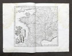 Antica Carta Geografica Del Regno Di Francia - Albrizzi 1730 Ca. - Altri