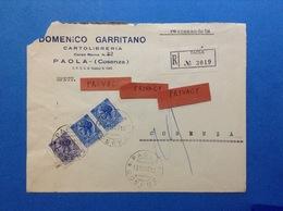 ITALIA SIRACUSANA 15 LIRE + COPPIA 60 SU BUSTA PUBBLICITARIA RACCOMANDATA CARTOLIBRERIA GARRITANO PAOLA COSENZA - 6. 1946-.. Republic
