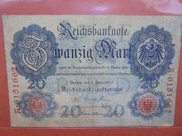 Reichsbanknote 20 MARK 1907 CIRCULER (B.1) - [ 2] 1871-1918 : Empire Allemand